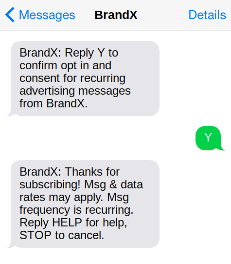 Opt-in with required information sample text