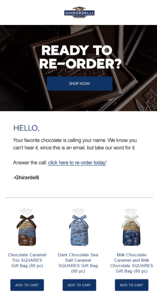 Ghirardelli Life Cycle email example. Affiliate engagement.
