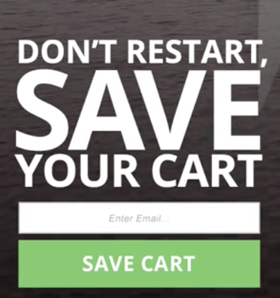 Save your cart modal example. Affiliate engagement.