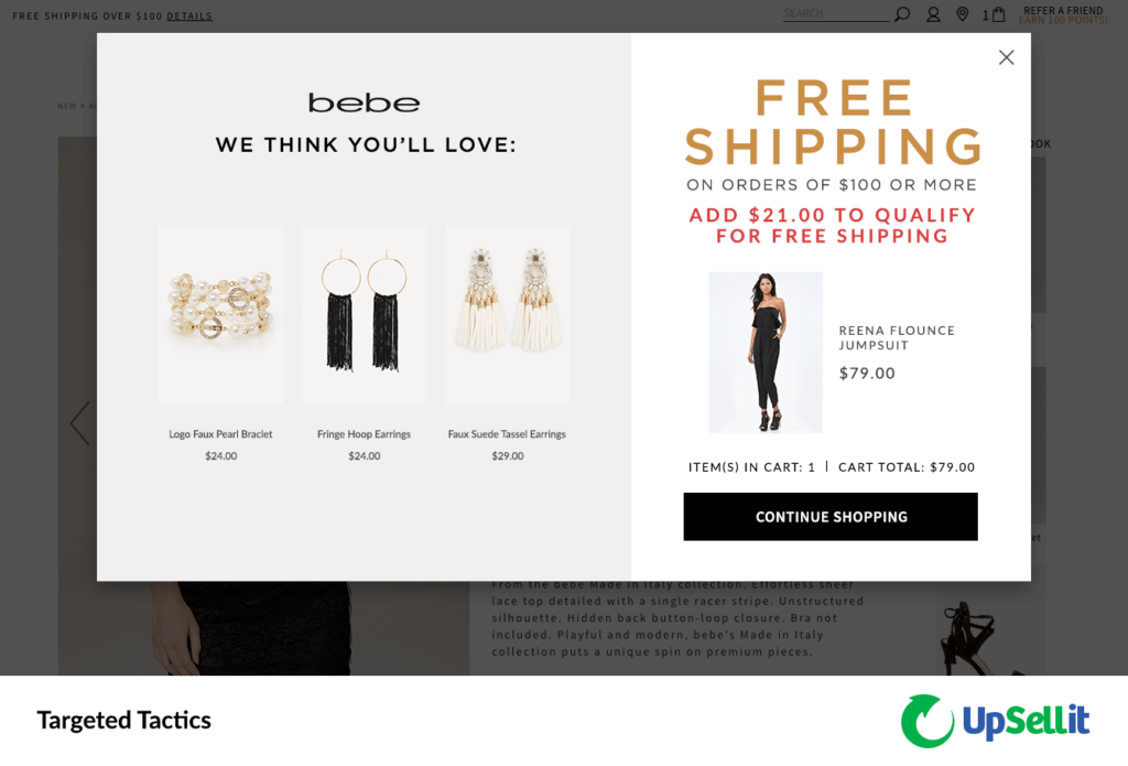 Image shows a clothing website where the shopper has added a jumpsuit costing $79 to their cart. The website messaging says customers get free shipping on orders of $100 or more and recommends 1 bracelet and 2 earrings that each cost $21 or more.