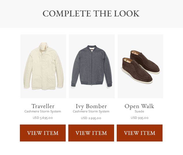 """Example of a """"Complete the Look"""" portion of an email. Complementary items to a shopper's recent purchase are displayed."""